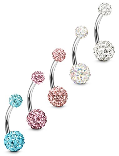 FIBO STEEL 5 Pcs 14G Stainless Steel Belly Button Rings Navel Barbell Body Jewelry Piercing P
