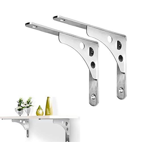 YAUI 2 stks roestvrij staal L plank beugels, zilver Heavy Duty drijvende beugel 90 graden hoek muur gemonteerde ondersteuner boekenplank, voor studie slaapkamer keuken
