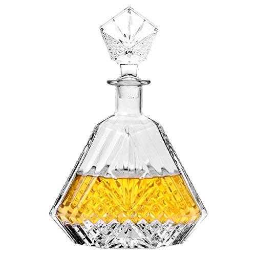 Glaskaraffe mit luftdichtem geometrischem Verschluss, Whiskey-Dekanter für Wein, Bourbon, Brandy, Likör, Saft, Wasser, Mundwasser, italienisches bleifreies Glas (650 ml)