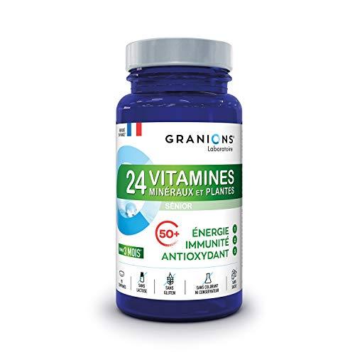 GRANIONS 24 VITAMINE, MINERALIEN, PFLANZEN SENIOR - Vitamine A B C D3 E + Spurenelemente Zink Magnesium + CoQ10 - Optimierte Assimilation - 3 Aktionen: IMMUNITÄT ENERGIE ANTIOX - 90 Tabletten