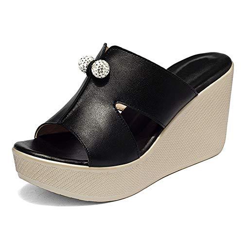 fereshte Women's Platform Slide Sandals Wedge Heel Rhinestone Balls Black 43 - US 10.5