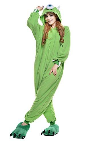 NEWCOSPLAY Adult Christmas Unisex Pyjamas Halloween Onesie Costume (S, Michael Wazowski)