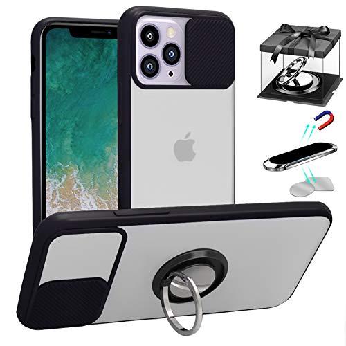 Funda para iPhone 12/iPhone 12 Pro, [Protección de la cámara] [con Soporte de 360° Anillo & soporte magnético para teléfono para automóvil & Placa de metal 2PCS] Translúcidos Mate Bordes suaves