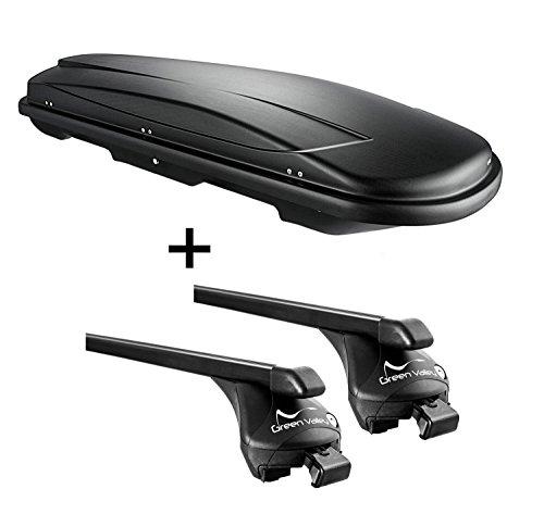 Skibox schwarz VDP Juxt 400 lit + Relingträger kompatibel mit Opel Mokka ab 2013 bis