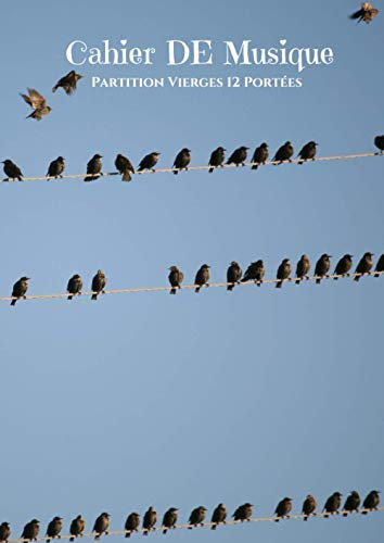 Cahier de Musique partitions vierges 12 portées: Avec titre,notation et sommaire : Grand Format : Idéal pour un musicien ou débutant : Couverture souple oiseaux pigeons