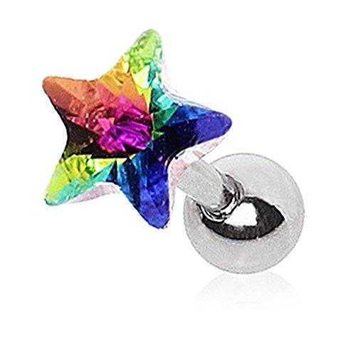 Piercing Boutique Chirurgisch Staal Gem Star/Prism Tragus/Helix/Cartilage/Labret 1,2 mm Dikte (16 gauge) x 6 mm Bar Lengte - Regenboog