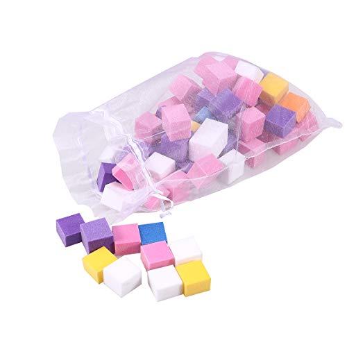 Lurrose 1 Zak vierkante nagel spons bestanden nagellak voor gladde glanzende nagels manicure tool(kleurrijk)