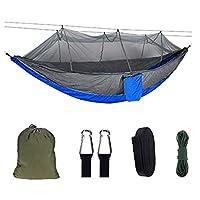 AERVEAL キャンプハンモックポータブルパラシュートハンモック、2つのツリーストラップ付き蚊帳ハンモックテント、バックパッキング旅行ビーチ裏庭パティオハイキング用、ダークグレー,グレーブルー