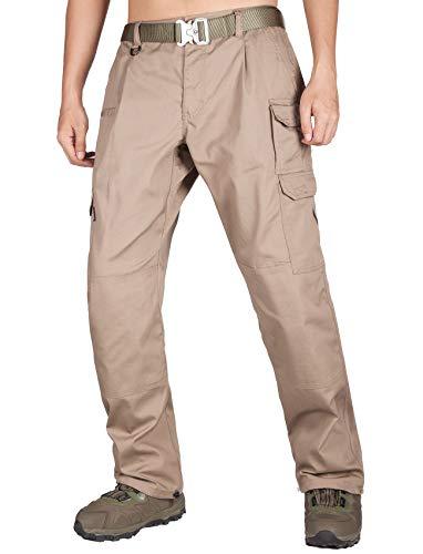 ITALYMORN Pantalon Tactical Cargo Homme de Travail Imperméable Survivor Hiking Treillis Militaire Combat Pants(38W x 32L, Kaki19)