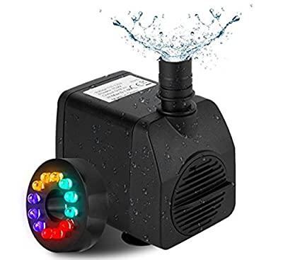 Fannel 220 GPH (800L/H, 15W) Submersible Water Pump for Fish Tank, Aquarium, Fountain, Pond, Small Silent 12 LED Colorful Pump Lights with 2 Nozzles, 6 Feet Power Cord