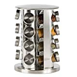 DOUBLE 2 C Revolving Countertop Spice Rack Stainless Steel Seasoning Storage Organization,Spice Carousel Tower for Kitchen Set of 16 Jars