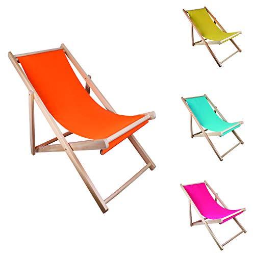 Mojawo Sedia a sdraio pieghevole in legno – Sedia a sdraio pieghevole da spiaggia, in legno, da spiaggia, balcone, da sole, da giardino