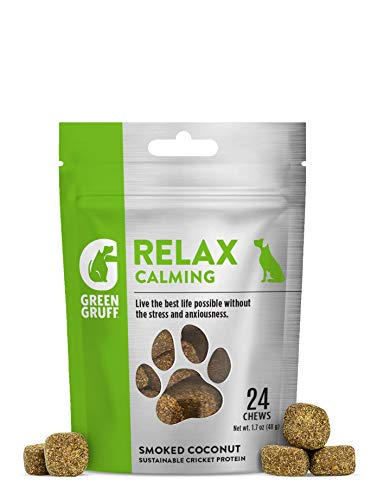 Green Gruff Relax - Calming Chews for Dogs with Anxiety - Anxiety Relief Treats Made with Organic Ingredients - Melatonin & Dopamine Producing Sleep Aid - Relaxation Bites