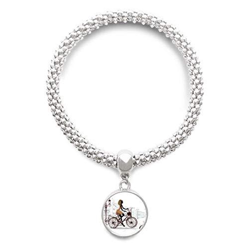 DIYthinker Damen Fahrrad-Dame Frankreich Illustration Muster Sliver Armband Laufende Anhänger Schmuck-Kette