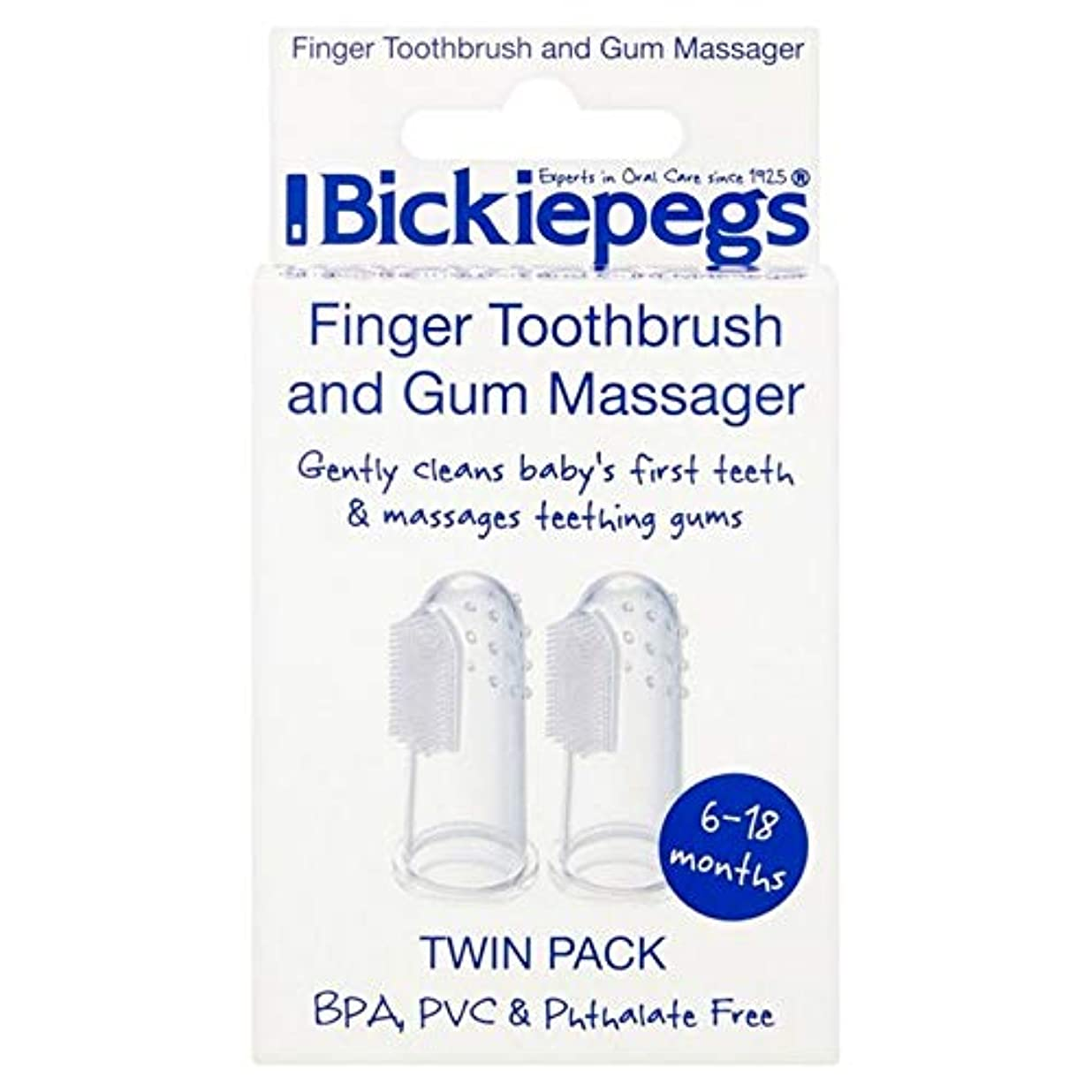 地殻踊り子天の[Bickiepegs] パックあたりBickiepegs指歯ブラシ&ガムマッサージ2 - Bickiepegs Finger Toothbrush & Gum Massager 2 per pack [並行輸入品]