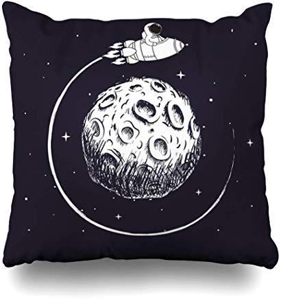 GFGKKGJFF0812 - Copricuscino, Motivo Astronauta, con Stelle, Astronauta, Che volano Intorno alla Luna, Galleggiante sulle Mani, per Bambini, 45,7 x 45,7 cm