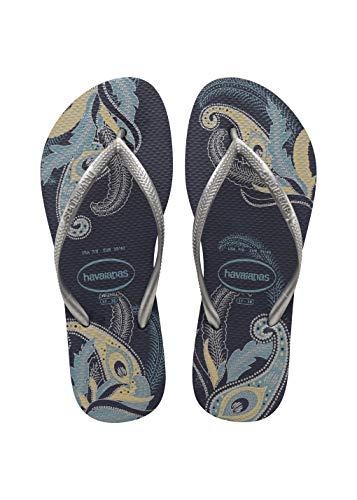 Havaianas Damen Slim Organic Navy Blue/Silver Schmale Öko Flip Flop-Sandalen, Blumenmuster, 37/38 EU