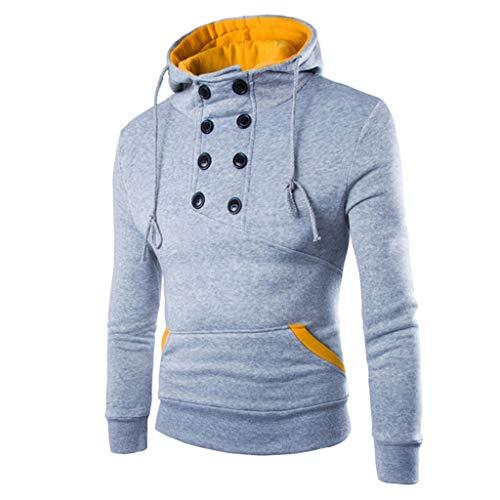 Xmiral Hoodie Sweatshirt Herren Einfarbig Patchwork Rollkragen Kapuzenpullover mit Tasche Herbst Outdoor Tops Pullover Oberbekleidung(Grau,M)