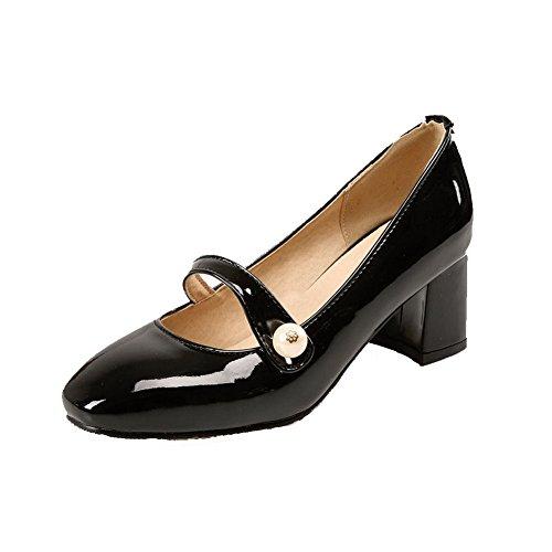 Odomolor Damen Quadratisch Zehe Mittler Absatz Rein Ziehen auf Pumps Schuhe, Schwarz, 35
