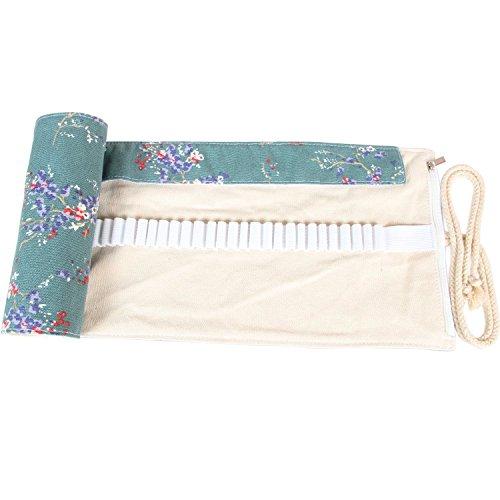 Damero Wrap Leinwand Stifterolle für 48/72 Buntstifte und Bleistifte Stifteetui Roll-up Mäppchen für Künstler, Verpackung Mehrzwecktasche für Reisen/Schule (Plum Flowers, 48 Holes)