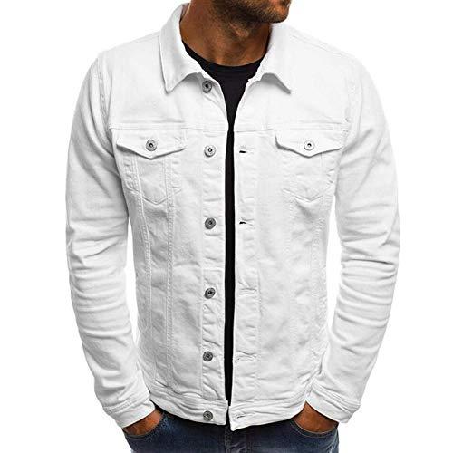 Huaheng heren herfst winter knopen eenkleurig vintage jeansjack top blouse mantel omlegkraag gebreide jas Large wit