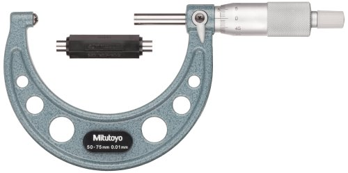 Mitutoyo 115-117 Series 115 - Micrómetro esférico y eje plano, rango de 50 mm a 75 mm, graduación de 0,01 mm