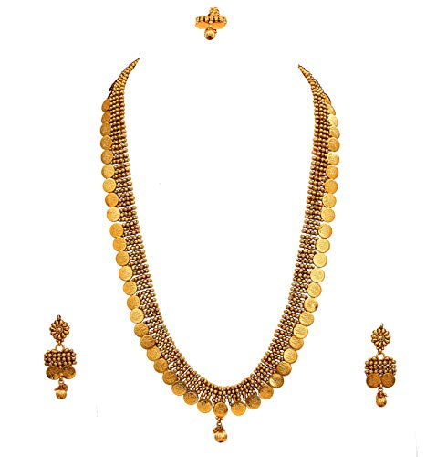 JewelryGift Unique Temple Coin Necklace Set with Maangtika Gold Plated Royal Handcrafted Traditional Wedding Jewellery Set for Women Girls