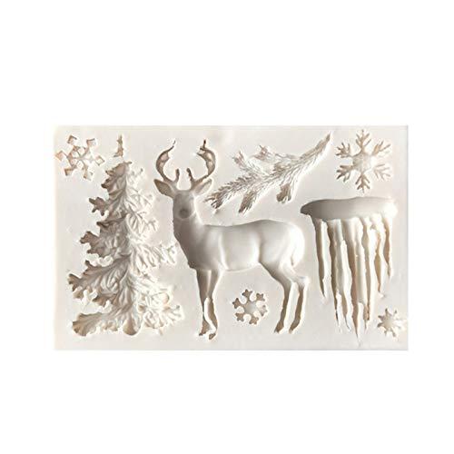 XIANZI Molde de silicona con forma de alce y copo de nieve, para tartas y chocolates