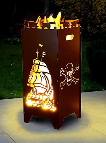 Moritz Feuerschale Feuerkorb 2mm Stahl 35x35x85 cm Steckbar für Garten Camping Outdoor Feuerstelle Feuertonne Totenkopf Schiff Anker Maritim