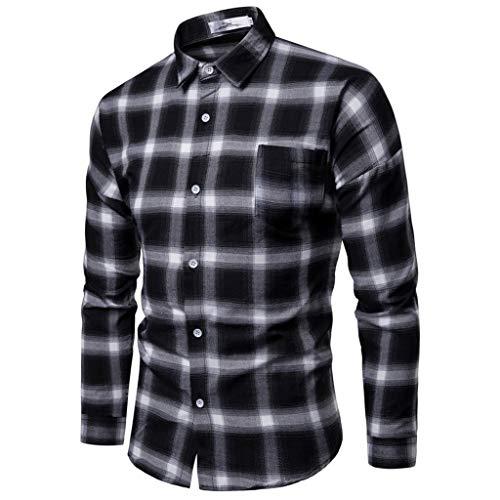 riou Camisas Hombres Camisa Hombre Manga Larga Ropa Impresión a Cuadros Camisas...