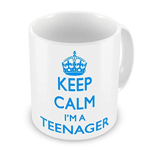 NA Keep Calm IM A Teenager Gift Mug Blanco - Azul