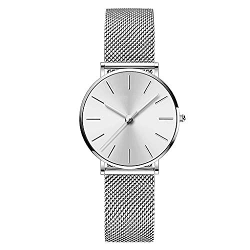 SKTE Movimiento Cinturón de Malla Tejida Reloj de Cuarzo Resistente al Agua Reloj de Mujer 36 mm Reloj de Mujer Grande Simply de Tres Pines (Color : Silver)