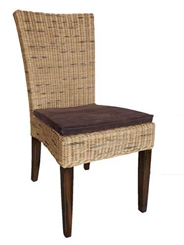Soma Rattanstuhl Esszimmer Stuhl Cardine mit/ohne Sitzkissen weiß oder braun (BxHxL) 48 x 98 x 60 cm Cabana mit Sitzkissen