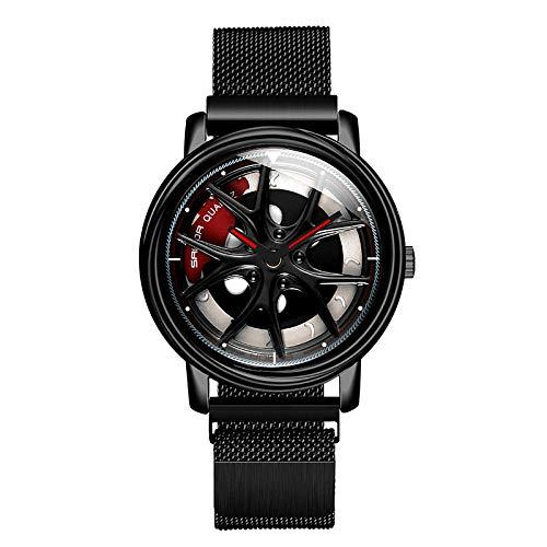 SANDA Relojes Mujer,Llega el Momento de Hacer Girar el Reloj Giratorio Tendencia Masculina Personalidad Simple Estudiante Femenino Atractivo Reloj de Cuarzo-Negro