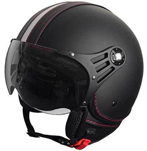 RALLOX Jethelm P01 Retro matt schwarz Motorradhelm Größe M Sturzhelm Helm Rollerhelm