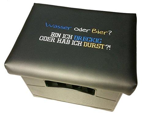 Design BierEx Bierkasten Sitz Bierkastensitz für Bierkiste Hocker schwarz Aufsatz Bierkiste für Stehtisch (Wasser oder Bier)