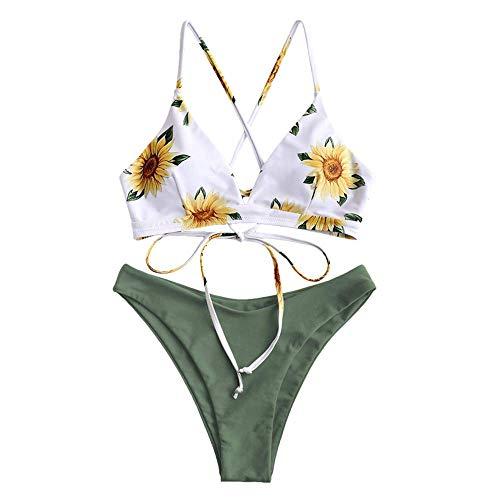 CheChury Costumi Brasiliana Donna Mare Due Pezzi Push-Up Imbottito Costume da Bagno Sollevamento Stampa Vita Alta Bikini Tezenis Donna
