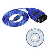 Yctze Cable de interfaz OBD2 de 150 cm, herramienta de escaneo de escáner de cable USB OBD2 para automóvil incluye unidad de CD para KKL 409.1 (azul)