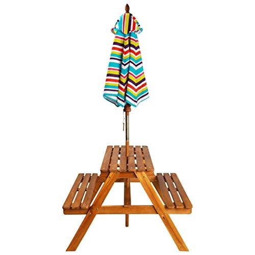 Tidyard Kinder-Picknicktisch Sonnenschirm Picknickbank aus Akazienholz mit Abnehmbarer Sonnenschirm enthalten