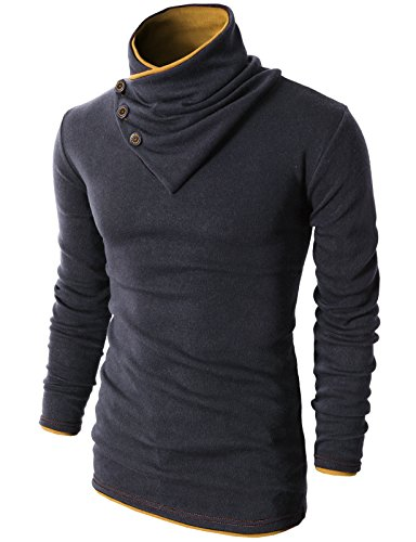 H2H Mens Fashion Turtleneck Slim Fit Pullover Sweater Oblique Line Bottom Edge Charcoal US S/Asia M (KMTTL040)