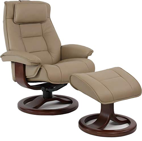 Fjords Mustang Small Leather Recliner Chair and Ottoman Norwegian Ergonomic Furniture Nordic Line Genuine Stone Leather Cherry Wood