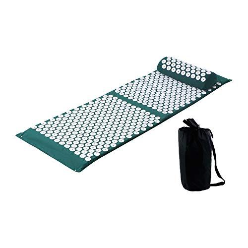 XL Akupressur Set Anself Akupressurmatte mit Akupressurkissen - zur Linderung von Schmerzen in Rücken und Nacken Rückenmassage Muskelentspannung mit Stoffbeutel