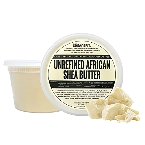 Sheanefit Raw Unrefined African Shea Butter, Natural Body Butter, Soft & Smooth Daily Moisturizer For Face & Body Ivory 16oz (Pack of 1)