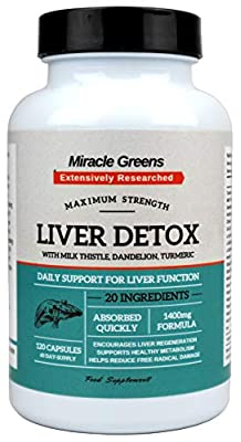 Powerful Liver Support – 1400mg Complex | Highest Strength Available with 20 Active Ingredients | Boosted with Milk Thistle, CoQ10, Turmeric, Vitamins and More | 120 Capsules – Two Month Supply from Miracle Greens
