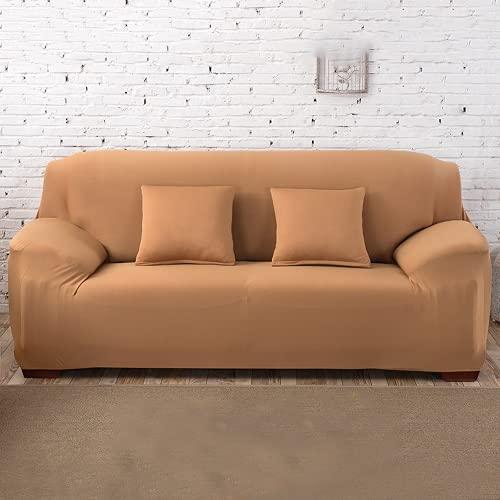 FENFANGAN Fundas De Sofá para Sofá De Cuero,Fundas Sofa Elasticas Universal,Todo Incluido,para Protector De Sofá De Sala De Estar,Económico Y Hermoso (Camel,4-Seater 230-290cm)