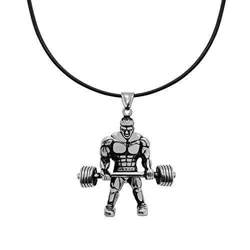 tumundo® Leder-Kette Hals-Kette + Ketten-Anhänger Fitness Bodybuilder Gewicht Hantel Silbern Sport Unisex Accessoires, Variante:Variante 10