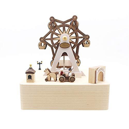 caja de musica para luces navideñas Caja de música de madera, una pequeña caja de música con una rueda de la fortuna, un regalo romántico for una boda / festival caja de música personalizada