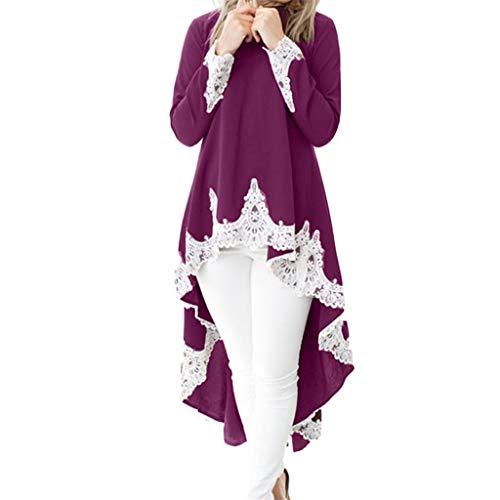 QingJiu Damen Langärmeliger Lässiger O Hals Pullover für Frauen Unregelmäßiger, Saum Einfarbig Spitze Kleider