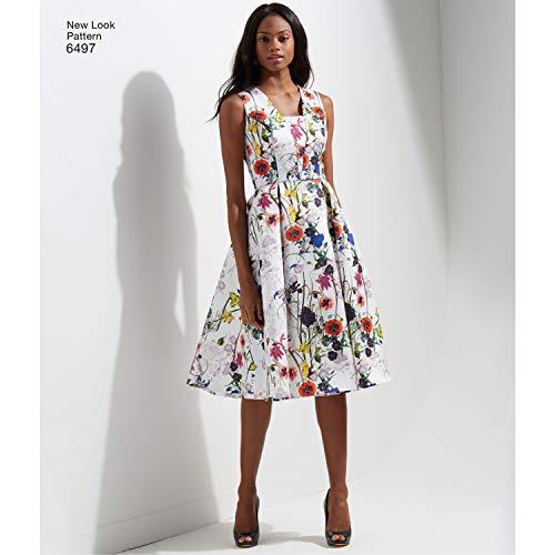 New Look Damen Schnittmuster 6497 Kleid mit Mieder und Längenvarianten