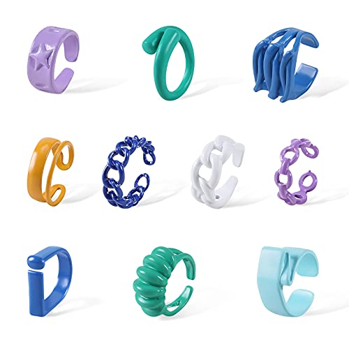 EnjoIt 8 y 12 piezas de anillos de diamantes acrílicos de resina vintage anillos de gema cuadrados para niñas y mujeres Índice de color anillos de dedo (tamaño 6-7) C2324, Resina,